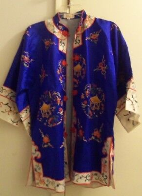 Asian Oriental Blue and Red Multi Color Short Jacket Coat Kimono XL