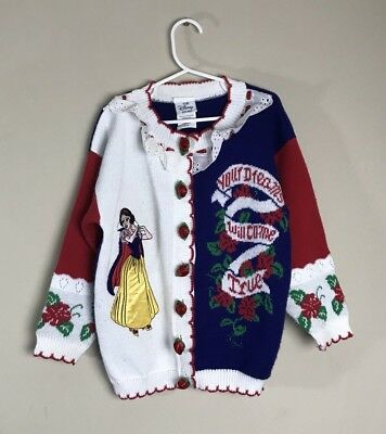 Vintage Disney Snow White Cardigan Rose Buttons Girls Size 8/10 90s Rare HTF