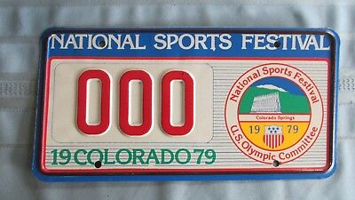 1979 Colorado National Sports Festival Sample License Plate-Olympic Committee