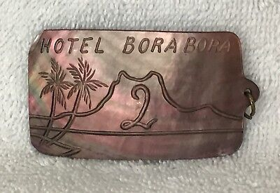 1971 Vintage HOTEL BORA BORA Room Key Fob/Chain - Carved Mother of Pearl/Abalone