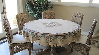 Antique Silk Society Arts And Crafts Linen Table Cloth