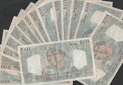 1000 Francs From France 15 Pcs