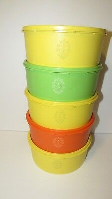 Lot of 6 Vintage Tupperware Servalier Canisters Yellow Orange Green  #1204