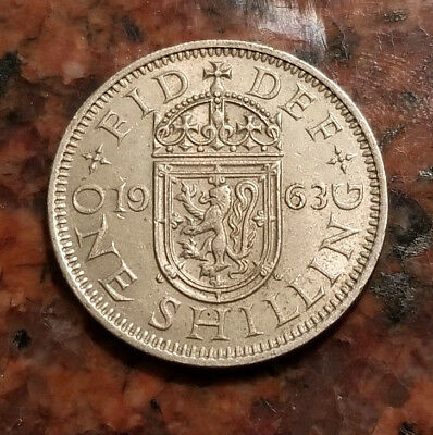 1963 Great Britain One Shilling Coin - Scottish Crest - #3667
