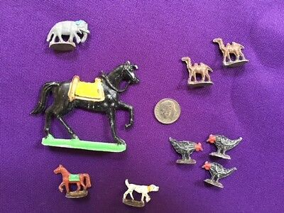 Lot of 9 Vintage Cast Lead Miniature Animals Chickens Horses Dog Camels Elephant