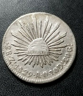 1829 ZS AO Mexico Silver 2 Reales Die Clash