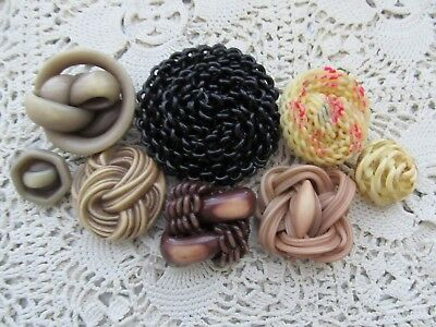Vintage Lot 8 Fancy Celluloid Extruded Buttons