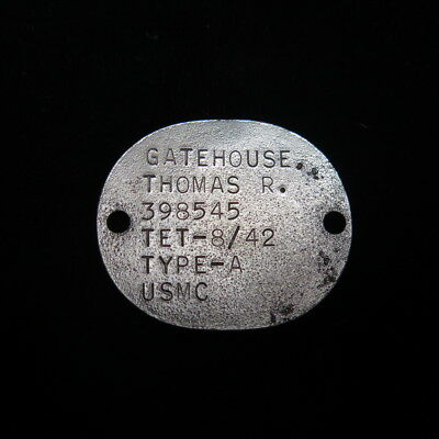 USMC Marine Corps Dog Tag for Thomas R Gatehouse - Has a fingerprint