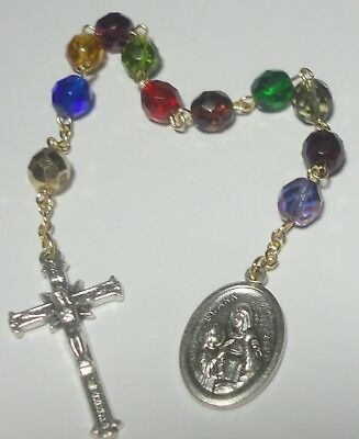 St Ann 3rd Class Relic Single Decade Rosary Patron of Miners Teachers Carpenters
