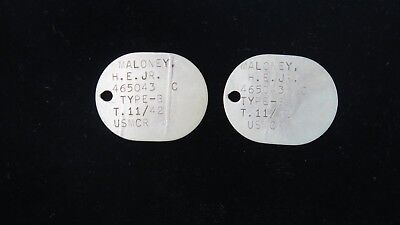 Two USMC Marine Corps Dog Tags - Maloney H. E. Jr. - Thumbprint on both