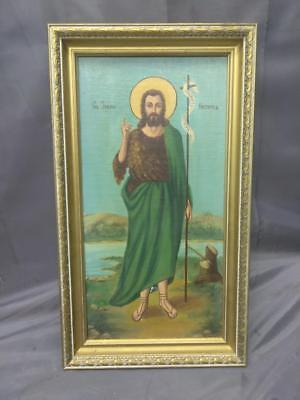 Old Vintage Oil Painting of a Religious Saint Man Santos Art Framed Art Antique