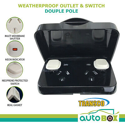 Weatherproof Double Pole Power Point Black 10 Amp GPO IP65 Rated Outlet Caravan