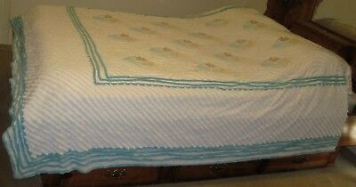Vintage Chenille Blue White Yellow Tulip Bedspread Repair Or Cutter 83 X 90