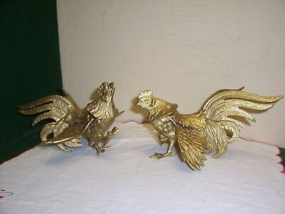 Pair of Vintage Cast Metal Painted Gold Fighting Cocks Roosters