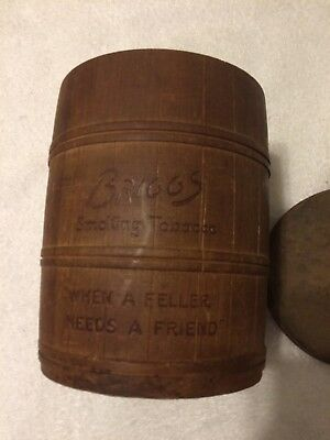 Vintage Briggs Smoking Tobacco Wood Barrel Humidor With Lid