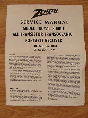 Zenith Service Manual For Royal 30001 Transoceanic Portable Radio. Zenith Service Manual For Royal 30001 Transoceanic Portable Radio Schematics. Wiring. Zenith Transistor Radio Schematics At Scoala.co