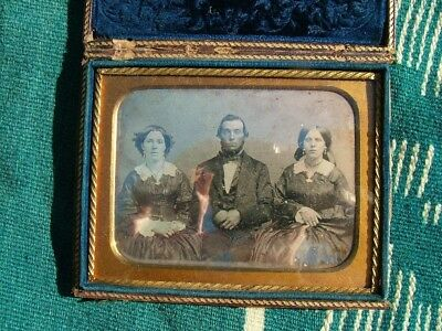Nice 19Thc. Cased Daguerreotype Two Women Sisters? & Man Seated Nice Image