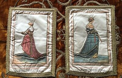 Antique Vintage  French Costume Design Silk Tapestry Jean Holbein Wall Hanging
