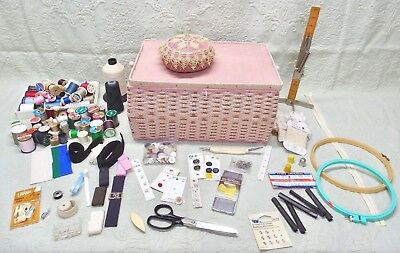 Vintage Xl Wicker & Tapestry Sewing Basket-Loaded With Sewing Supplies Notions