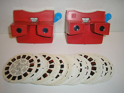 2 Vintage Red/White 3D View-Master Viewmaster Toy Viewers 38 Reels Disney +Other