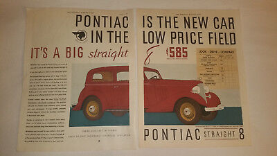 1935 Pontiac Two Page Antique Print Ad Collectible Car Auto Poster Classic Truck