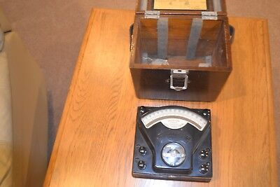 Weston D.C. Voltmeter with Wood box and leather handle