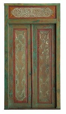 Balinese Original Antique Red Green Natural Timber Hand Carved Door- 12A