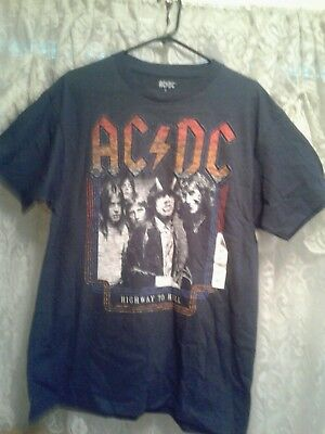 ACDC Highway To Hell Men's T Shirt Navy Size L NWT!Have For Any ACDC Fans!Sale!!