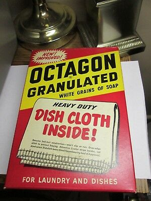 Vintage Box of Octagon Soap Flakes w/Free Dish Cloth Inside( Box is Full)