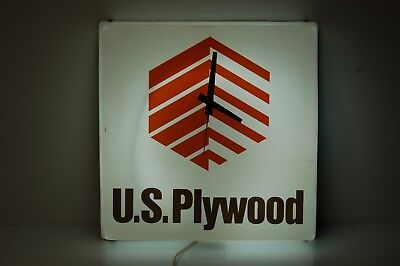 """Vintage U.S. Plywood Wall Clock in working condition 16"""" x 16"""""""
