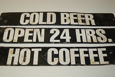 """3 Vintage Store Advertising Signs marked front and back 26"""" x 4"""""""