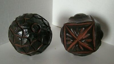 Pair Of Carved Wood Decorative Balls