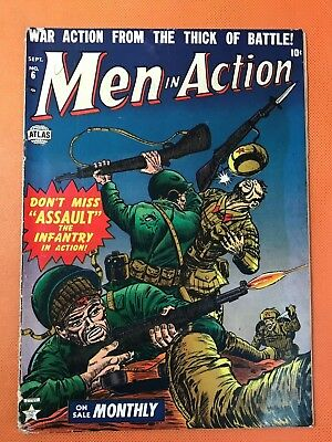 Rare 1952 Atlas MEN IN ACTION #6 * Classic BRUTAL HAND TO HAND COMBAT Cover