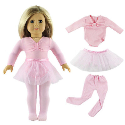 Pink Doll Clothes Handmade Ballet Dress American Fit for 18 Inch Girl Dolls