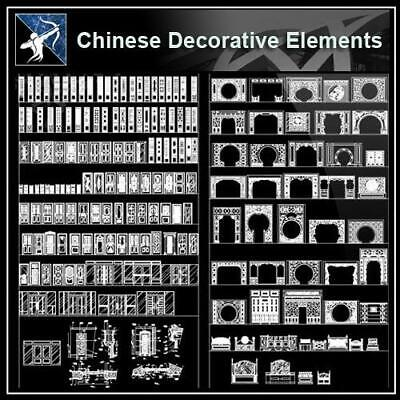 Over 500+ Chinese Decorative elements-Frame,Pattern,Border,Door,Windows,Roof