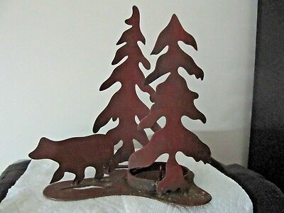 Sheet Metal Pine Trees And Bear Candle Holder   Estate Find, No Reserve
