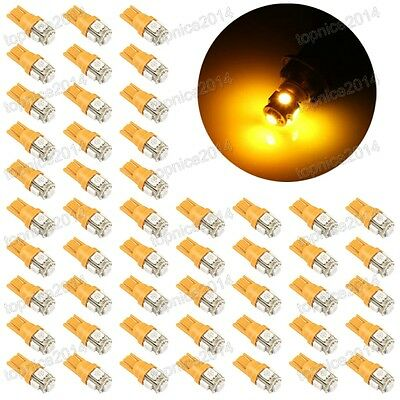 50Pcs Yellow T10 5SMD 5050 Car LED Wedge Light Plate License 194 2825 501 Bulb