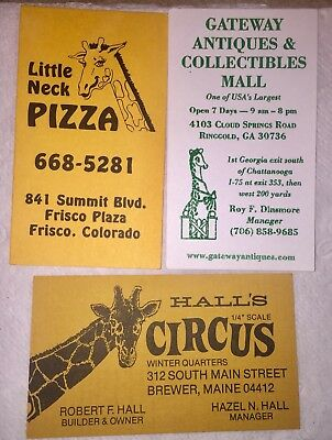 3 Business Cards - Giraffes- Animals - CO, GA + ME - USA 2 Are Vertical.