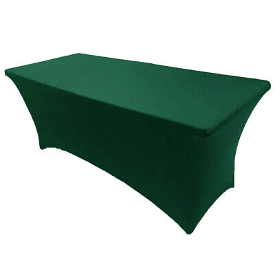 6' ft. Spandex Fitted Stretch Tablecloth Table Cover Wedding Party Hunter Green