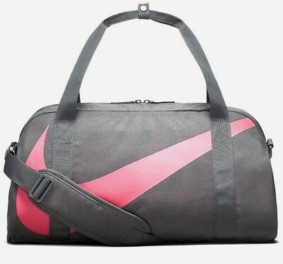 Nike Womens Kids Swoosh Gym Club Fitness Training Holdall Sports Bag Grey Pink
