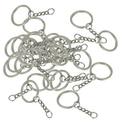 30x Metal Round 28mm Split Key Ring Keychain with Extend Chain Findings