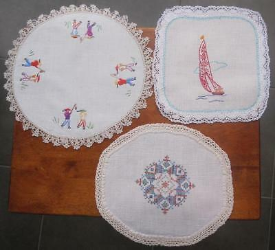 Three Vintage Hand Embroidered/Crochet DOILIES 'Variety Plus' 'Never Used'