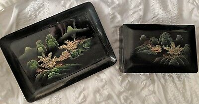 Antique Asian Japanese Lacquer Ware box and plate 105 vintage Traditional
