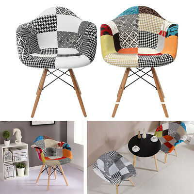 Patchwork Armchair Chair Dining Room Lounge Stool Cotton Fabric Multicolored