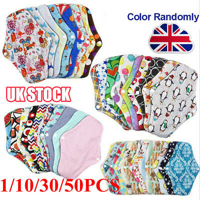 1-50 Women Menstrual Pads Reusable Panty Liners Sanitary Bamboo Washable Cloth Y