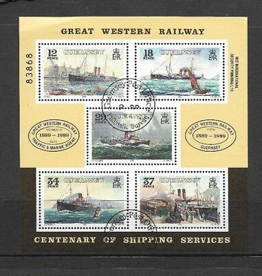 GUERNSEY 1989 GWR Steamers Mini-sheet - SG 468 - used
