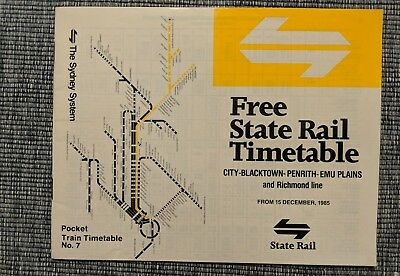 Various State Rail Authority Sydney Railway Timetables