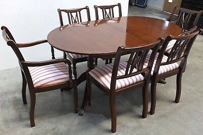 Regency Antique Style Mahogany D-End Extending Dining Table & 6 Chairs (205)