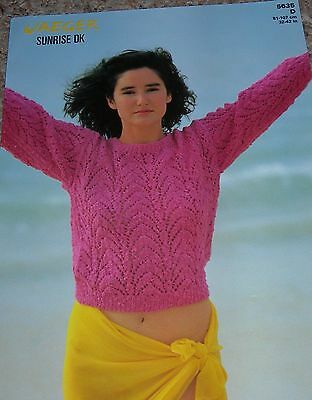 Jaeger Knitting Pattern No 4708 Sweater Cardigan In 4 Ply Sizes 32
