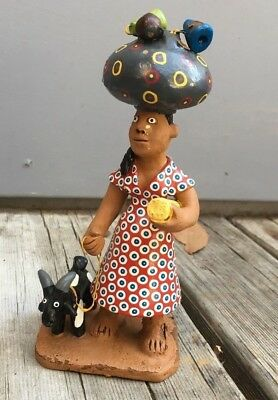 1980s Antonio Rodrigues Painted Clay Native Figurine - Woman with Goat - Brazil
